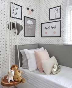 Night night com esse quartinho que é puro amor! Teen Bedroom, Bedroom Inspo, Bedrooms, Girl Room, Baby Room, Cool Room Designs, Interior Exterior, Room Inspiration, Bed Pillows