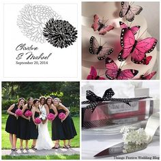 @Josie Tanner  Nice pink and black wedding color palette. Love the butterflies on the cake.