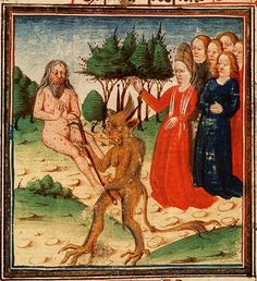 Job on the dung-hill is tormented by his wife and the devil, Utrecht, Master of the Feathery Clouds (illuminator) ~ ca.1467