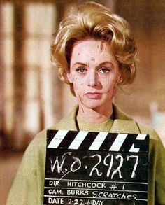 Tippi Hedren in a makeup test for The Birds. Hitchcock