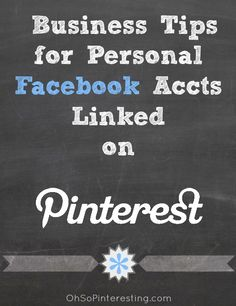 Consider linking your Pinterest account to your personal Facebook page and make it work to your advantage. You may be missing an opportunity to add Facebook followers or even potential customers Via www.ohsopinteresting.com