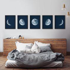 Mond Phasen print Satz Framed Mondphasen Mond Phasen Drucke