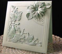 Bday card for Pam Memory Box Butterfly corner die, Crafty Ann leaves, Spellbinder flowers and corner die underneath. Card made by Peggy Dollar