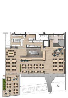 Image 16 of 19 from gallery of Caffè Vero / ProgettoCMR. First floor plan Cafe Floor Plan, Restaurant Floor Plan, Restaurant Layout, Architecture Restaurant, Restaurant Interior Design, Shop Interior Design, Architecture Plan, Cafe Interior, Floor Plans