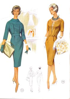 Fashion and style from the and Mens Sewing Patterns, Vintage Dress Patterns, Vintage Outfits, Vintage Dresses, Vintage Vogue, 1960s Fashion, Timeless Fashion, Vintage Fashion, Posh Clothing