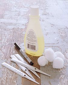 Reusable Garden Tags from www.marthastewart.com.  Names written on metal plant labels wash away in the rain if you don't use a permanent marker. But you can still use an old label again for a different plant: Just erase the indelible ink by rubbing it with a cotton ball dipped in nail-polish remover