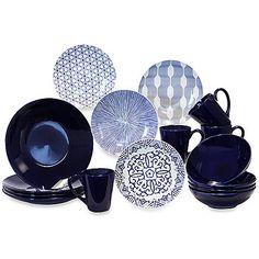 "Baum Brothers Blue and White 16-Piece Dinner Set; $70 / 16 piece set; described as ""ceramic"""