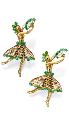 Pair of 18 Karat Gold and Chalcedony 'Ballerina' Brooches, Van Cleef & Arpels, France. The polished gold ballerinas, the costumes comprising of a hair ornament, fan and openwork floral skirt, decorated with chalcedony beads, total gross weight approximately 10 dwts, both brooches signed Van Cleef & Arpels, both brooches numbered 54208, with French assay marks; circa 1940.