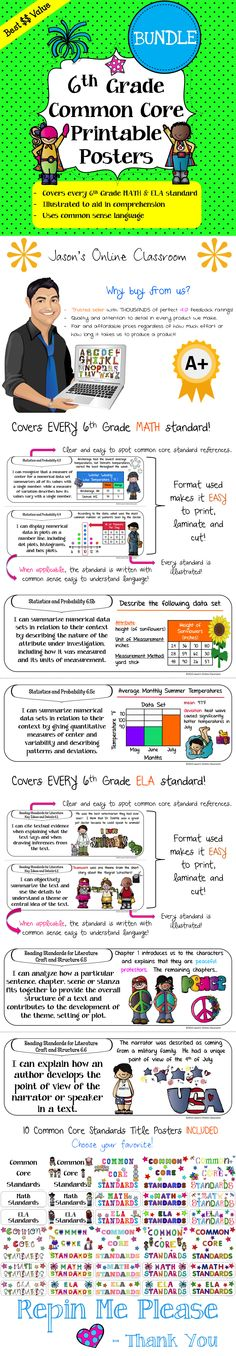 "Common Core Standards ""I Can"" Statements Math & ELA Bundle! - These posters cover every 6th Grade Math and ELA standard with fun, creative and multicultural illustrations with common sense common core language (when applicable). Save a ton of time by using our pre-made posters! Buy now, print later! $$ HALF OFF UNTIL 6/28/2013!"