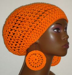 Crochet tam and earrings by Razonda Lee