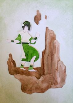 Toph-watercolor and paper cutouts. By fainkitty on Tumblr