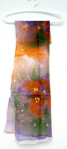 Silk Scarf Square. Hand Painted square Silk Scarf. di TeresaMare