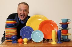 A happy fiestaware collector.