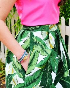 Palm Leaf Women's Structured Skirt With Pockets