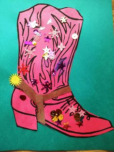 Print a cowboy boot pic on colored paper. Decorate with brown stirrup straps (from fabric or brown paper) and a yellow star for straps. Add sequins and stickers to decorate. Wild Wild West Preschool Theme, Wild West Crafts, Wild West Theme, Wild West Party, Cowboy Theme, Cowboy Art, Western Theme, Cowboy And Cowgirl, Cowgirl Boot