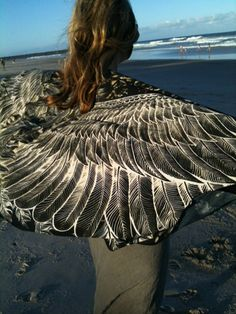 Silk/Cotton Women scarf Hand painted printed Wings and by Shovava  Gift for me!  I so want this!!