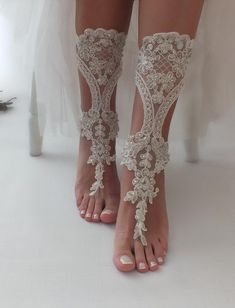 B A R E F O O T S A N D AL S Barefoot sandals for beach wedding. Bridal accessory, Beach wedding photo shoots, Custom photo shoots, Gift for Bridesmaids, Anniversary, Birthday gift. Designed with high quality French lace. It is completely handmade. • Handmade • First quality French lace •