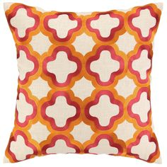 DL Rhein Quatrefoil Tangerine Embroidered Pillow @Sarah Nasafi Grayce #laylagrayce and #bunnywilliamshome