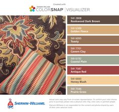I found these colors with ColorSnap® Visualizer for iPhone by Sherwin-Williams: Rookwood Dark Brown (SW 2808), Golden Fleece (SW 6388), Toasty (SW 6095), Cavern Clay (SW 7701), Coastal Plain (SW 6192), Antique Red (SW 7587), Honey Blush (SW 6660), Prairie Grass (SW 7546).