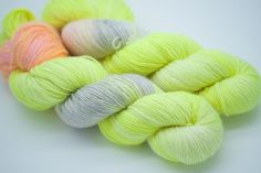 Soft Lemon Hand Dyed Yarn Merino 1ply 100% superwash merino wool 366 meters per 100g Hank