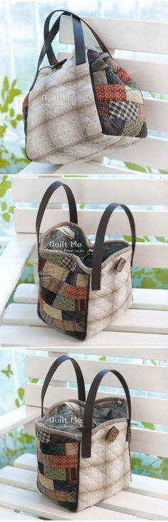 Discover thousands of images about Patchwork handbag tutorial Japanese Patchwork, Japanese Bag, Patchwork Bags, Quilted Bag, Diy Bags Patterns, Purse Patterns, Craft Bags, Denim Bag, Cotton Bag