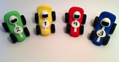 12 Race Cars Fondant Cake or Cupcake toppers great by craftyrosy