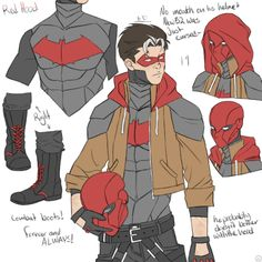 """""""Jason's still weirdly colorful, Tim's still short, and Dick's still poofy, everything is perfectly in order. I love that I'm calling Tim short but he's less than half an inch shorter. Nightwing, Batgirl, Math Comics, Dc Comics Art, Superhero Suits, Superhero Design, Robins, Batman Redesign, Red Hood Jason Todd"""