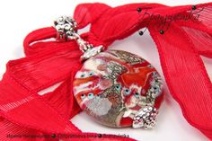 Bright Luxury Pendant - lampwork bead red burgundy gray murrini flowers - silk cord by Branzuletka on Etsy