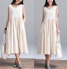 Vogue Women's 100% Cotton Linen V Neck Loose Maxi Summer Sleeveless Long Dress