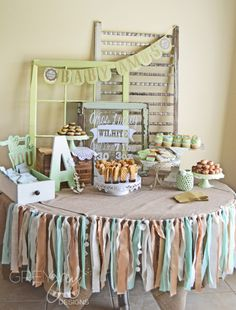 Shabby Chic Baby Shower Dessert Table - love the vintage window + scrap fabric banner! #babyshower #shabbychic