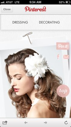 Floral dangle wedding hair