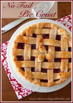 No Fail Pie Crust is a tried and true crust that will not let you down! Delicious too!! by whatscookingwithruthie.com #recipes #pies #christmas