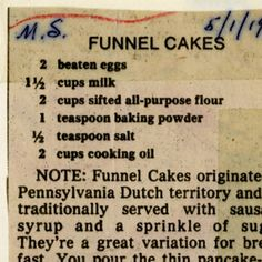 Funnel Cakes :: Historic Recipe The Milwaukee Public Library has a historical recipe file - so cool ! Funnel Cakes :: Historic Recipe The Milwaukee Public Library has a historical recipe file - so cool ! Old Recipes, Easy Cake Recipes, Vintage Recipes, Easy Desserts, Baking Recipes, Dessert Recipes, Retro Recipes, Homemade Desserts, Recipies
