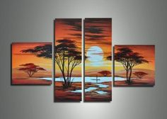 African Sunset Canvas Oil Painting | 4 Panel | 587
