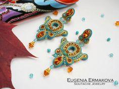 Soutache earrings with Swarovski Stud earrings от JaneEJewelry