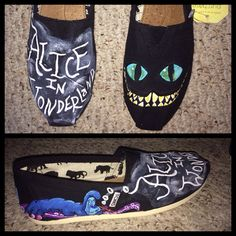 Alice In Wonderland TOMS Definitely getting myself a pair of slip ons and creating something with Alice on it.