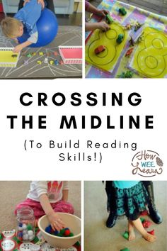 Crossing the midline activities are so much fun for kids to do and they are critical for later reading development as well. These are gross motor activities that involve crossing one side of the body over to the other side and builds a part of the brain critical for reading. Find out more and great activities in this blog post! Gross Motor Activities, Kids Learning Activities, Gross Motor Skills, Arts And Crafts Projects, Reading Skills, Toddler Toys, Small Groups, Big Kids, Kindergarten