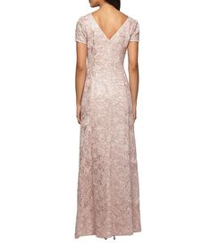 451ad3236240d Alex Evenings Sequined-Lace Rosette-Rose Gown