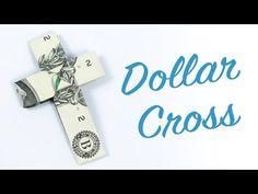 Dollar origami cross ✝️ Tutorial to make money CROSS origami Dollar Bill Oragami, Dollar Origami, Origami Ball, Origami Boxes, Money Origami Tutorial, Origami Instructions, Creative Money Gifts, Folding Money, Origami Bookmark
