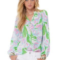 Lilly Pulitzer pink and green top