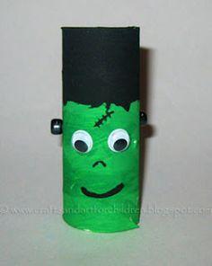 toilet paper tube Frankenstein craft for kids #halloween