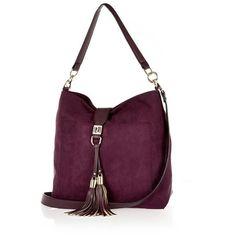 River Island Dark purple tassel front faux-suede handbag ($64) ❤ liked on Polyvore featuring bags, handbags, shoulder bags, bags / purses, purple, women, dark purple purse, tassel purse, river island und purple handbags