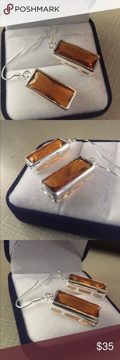 """European rectangular style honey Brazil citrine Beautiful European design rectangular style Honey Brazilian citrine silver dangle earrings shepherds hook inlay approximately 1""""3/4 long to almost 1/2"""" wide faceted sparkle simply gorgeous!!!! Nwot Jewelry Earrings"""