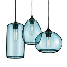 Hennepin Made Sky Pendant Sets - Sky Pendants Mixed Set of Three in Steel Blue - Lighting - Room & Board Blue Pendant Light, Blown Glass Pendant Light, Pendant Chandelier, Pendant Set, Chandelier Lighting, Kitchen Pendants, Glass Pendants, Light In, Lamp Light