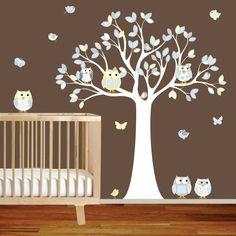 Pépinière mur arbre Decal Owl Tree garçons par wallartdesign, $99.00