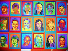 Pop art zelfportretten Art History Lessons, Sculpture Projects, Expressive Art, Arte Pop, Pop Art, Printmaking, Collage, Painting, Color