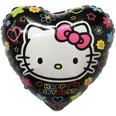 """NEW! 18"""" Neon Heart Hello Kitty Balloon"""