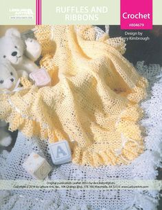 Ruffles and Ribbons Baby Afghan ePattern - Mom will love having a frilly afghan for showing off her new baby. This lacy wrap features a simple repeated pattern and can be crocheted in any color to coordinate with the nursery. The flouncy ruffle is trimmed with satin ribbon.