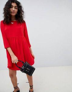 Свободное платье мини с длинными рукавами ASOS DESIGN