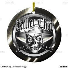 Chef Skull 3.1 Double-Sided Ceramic Round Christmas Ornament